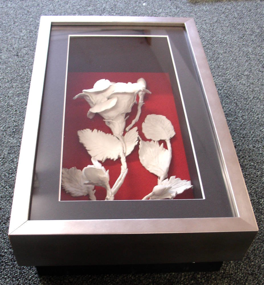 3d Ceramic Flower Framed In Deep Box Frame