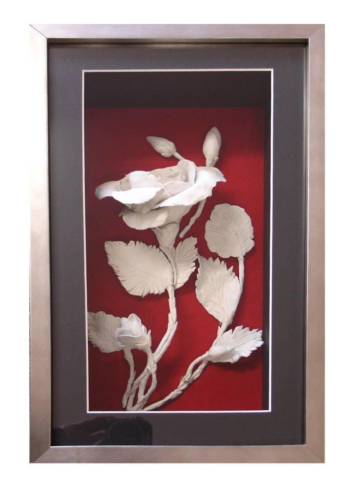3d Ceramic Flower Framed In Deep Box Frame