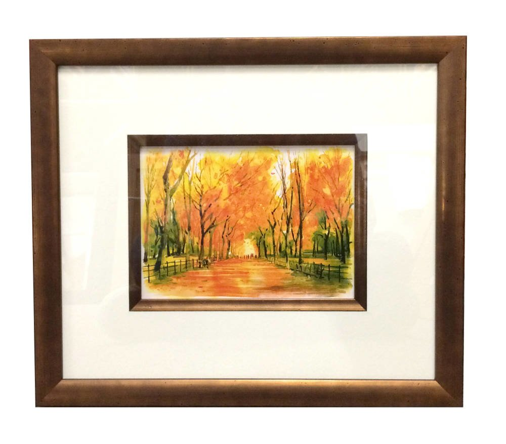 Bronze frame for bright watercolour
