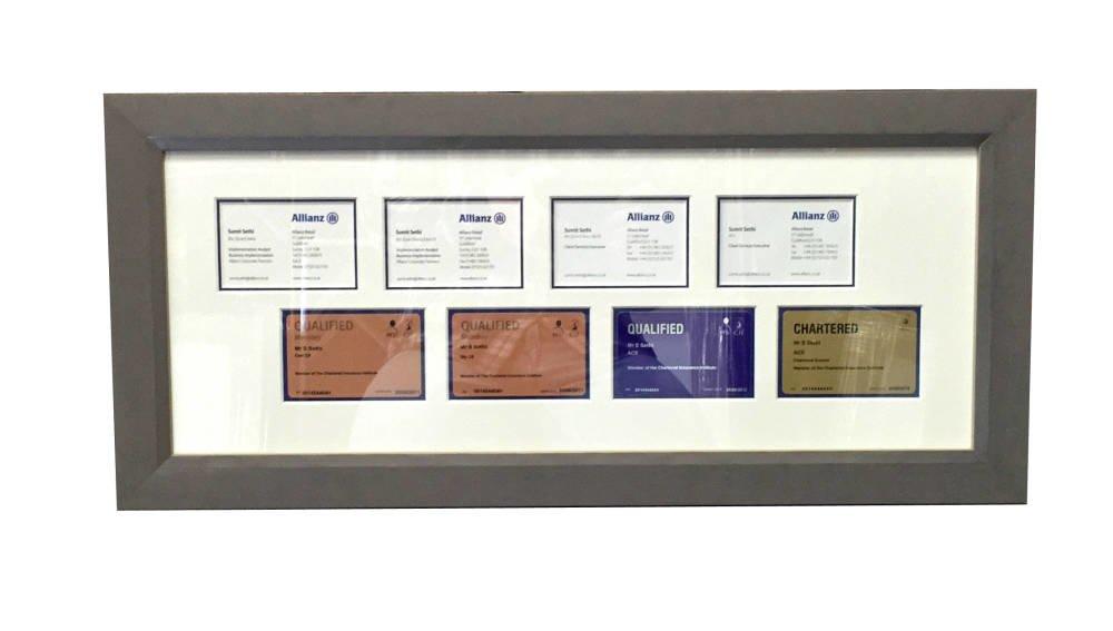 Business cards framed