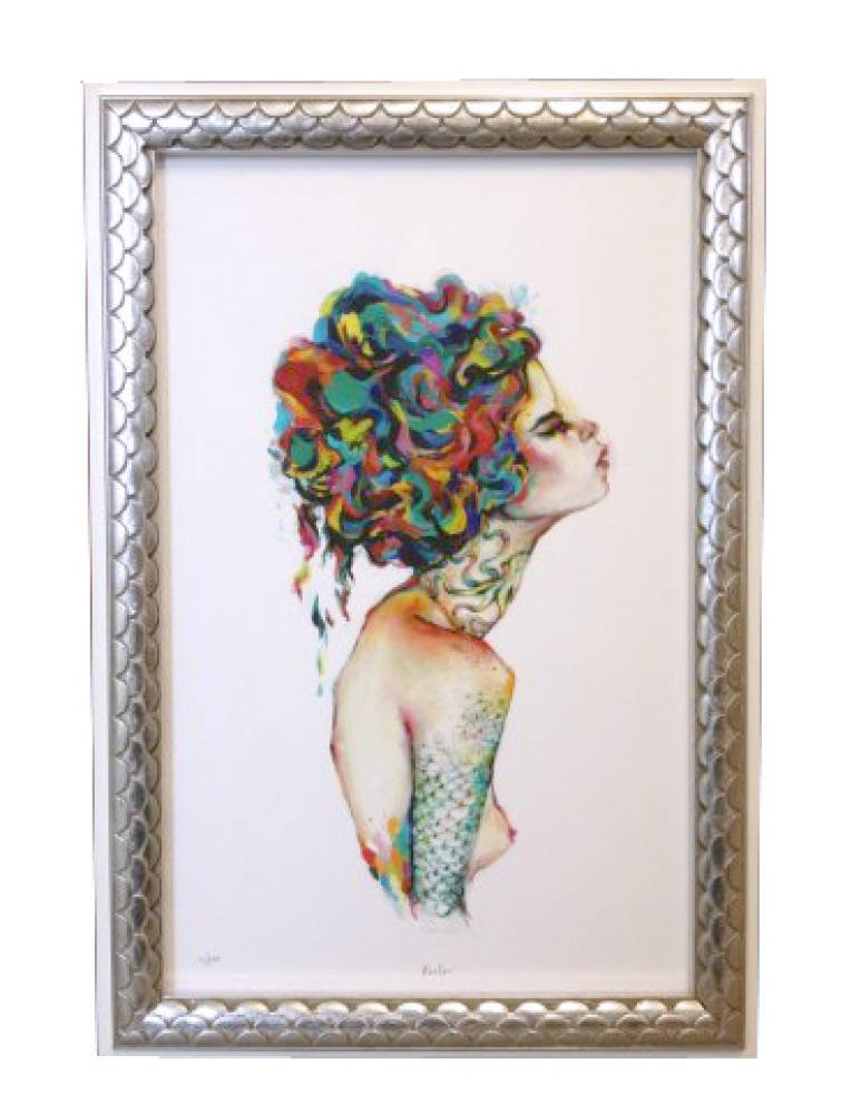 Mermaid san francisco santa catalina - Charmaine Olivia Avalon Limited Edition Print Framed in Silver Leaf Picture Frame