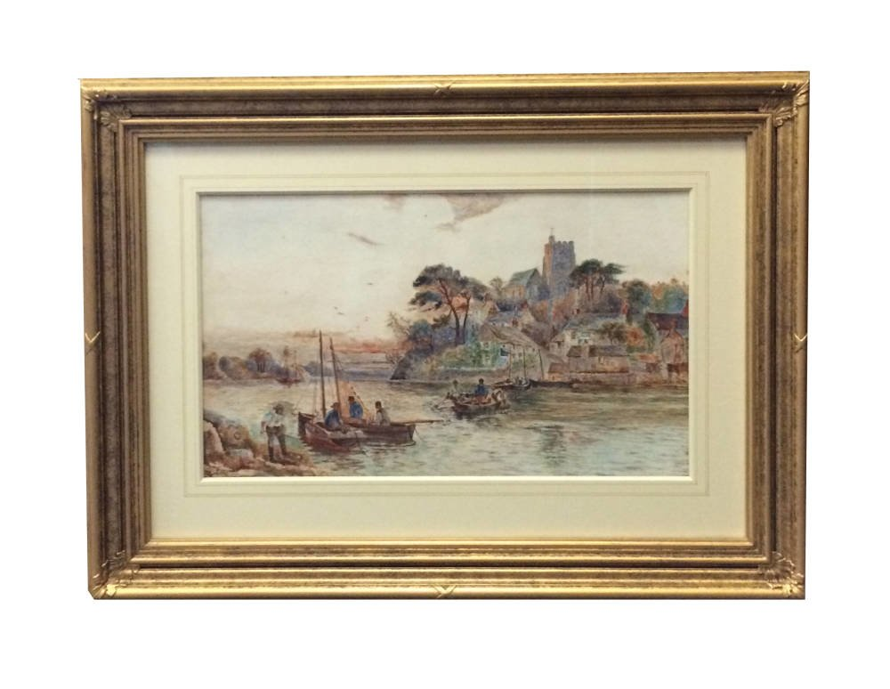Coastal watercolour framed in period frame