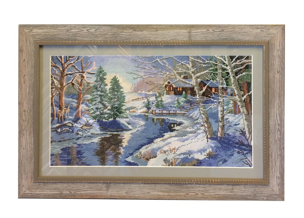 Cross stitch winter scene framed