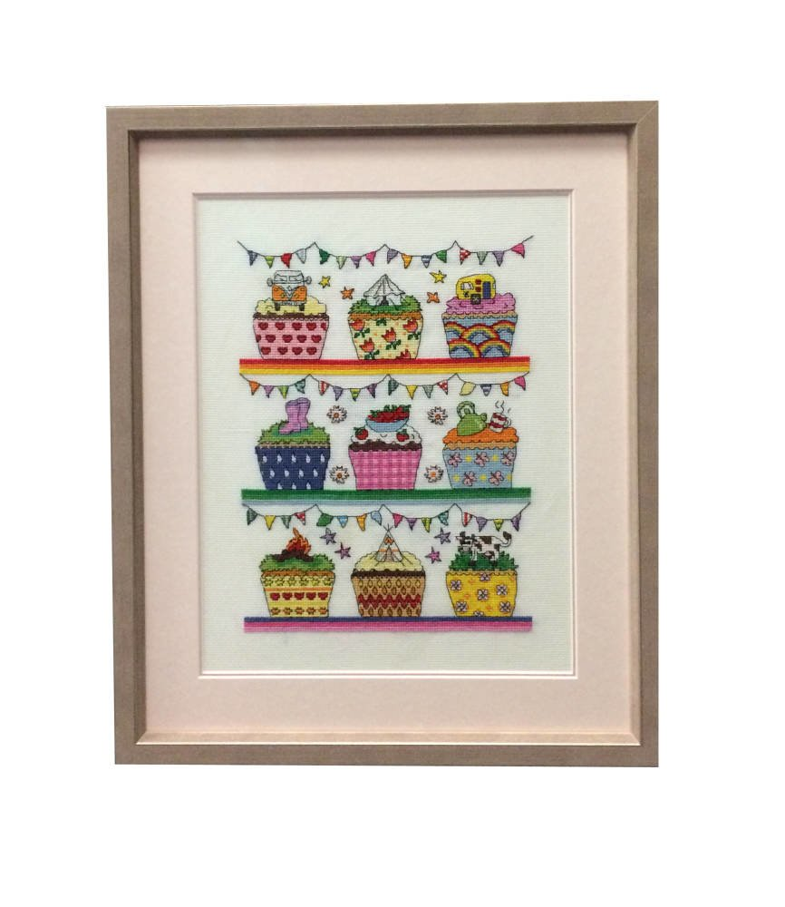 cupcakes cross stitch framed