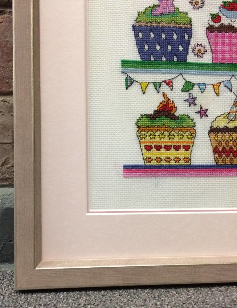 cupcakes cross stitch framed main image