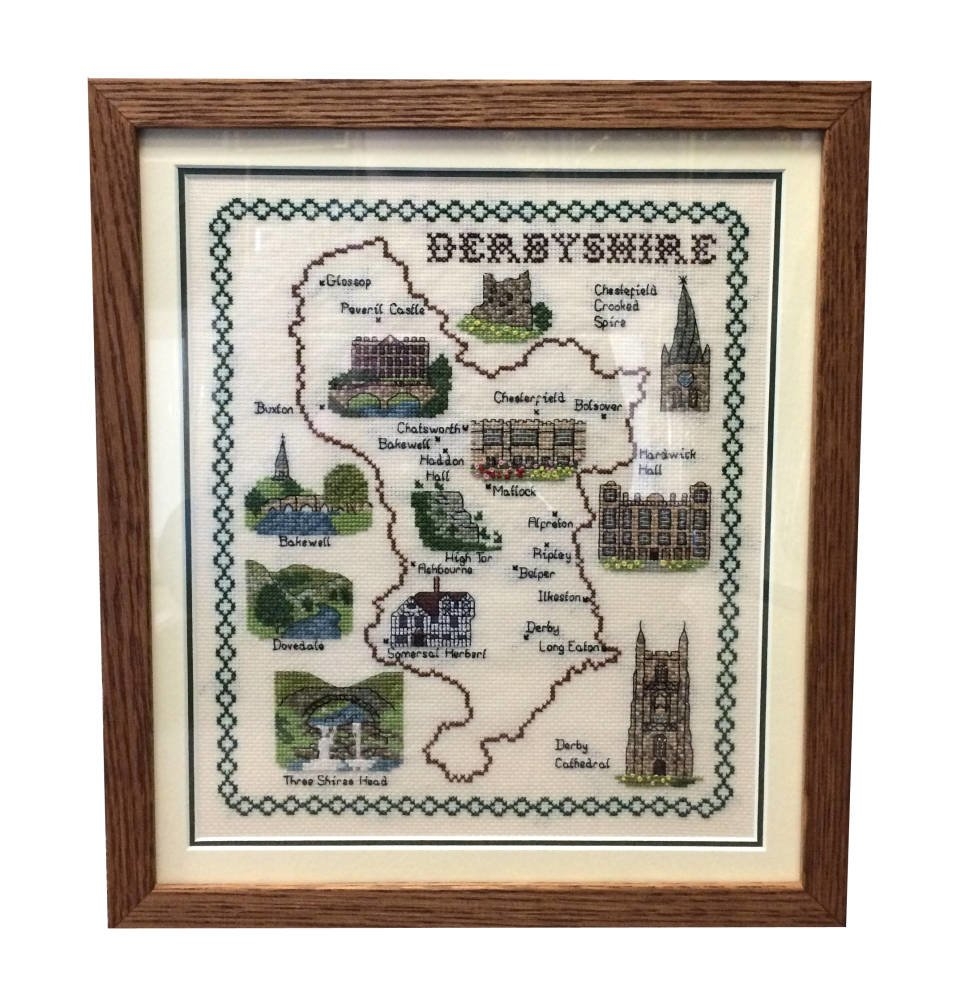 Derbyshire Cross Stitch framed
