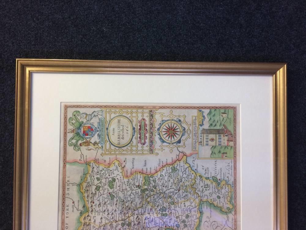 Derbyshire Map Framed