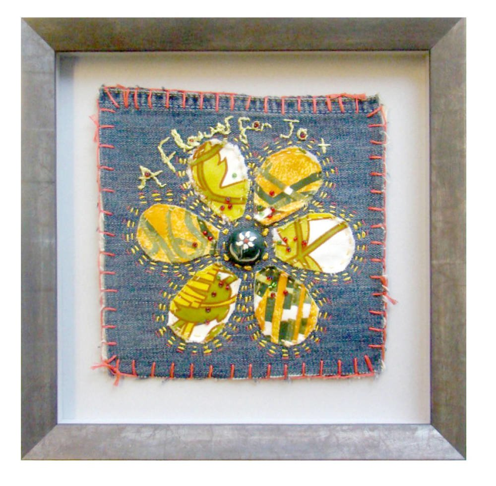 Framed flower needlework - denim square
