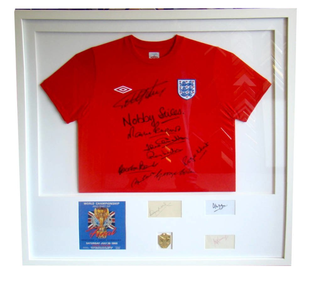 Framed 1966 England Football Shirt with Signatures