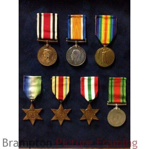 Framing of 11 medals