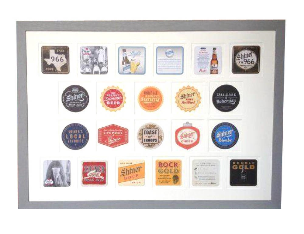 Framing of 24 American beer mats