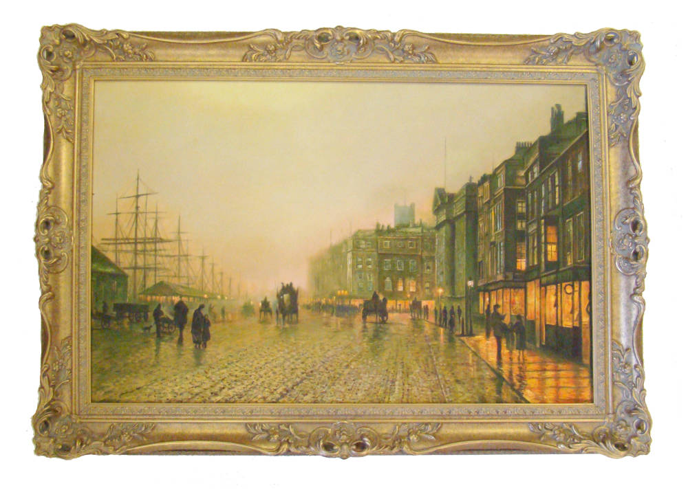 swept handmade frame paintings stretched - Grimshaw - Liverpool Quay by Moonlight