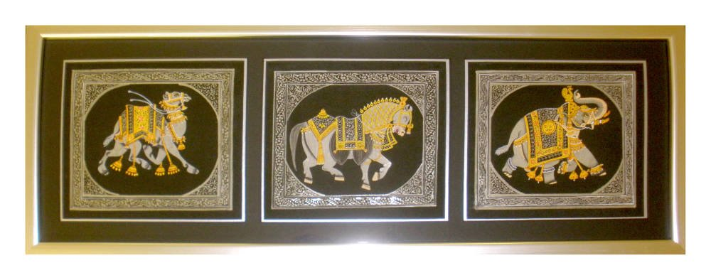 Indian triptych framed