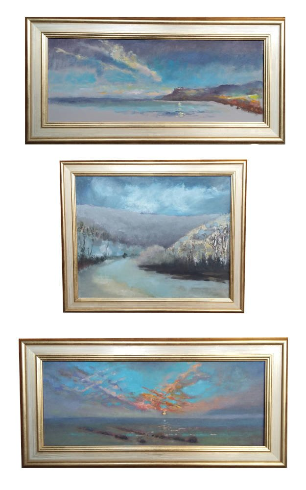 Art Collections framed - ivory and gold frame landscape triptych
