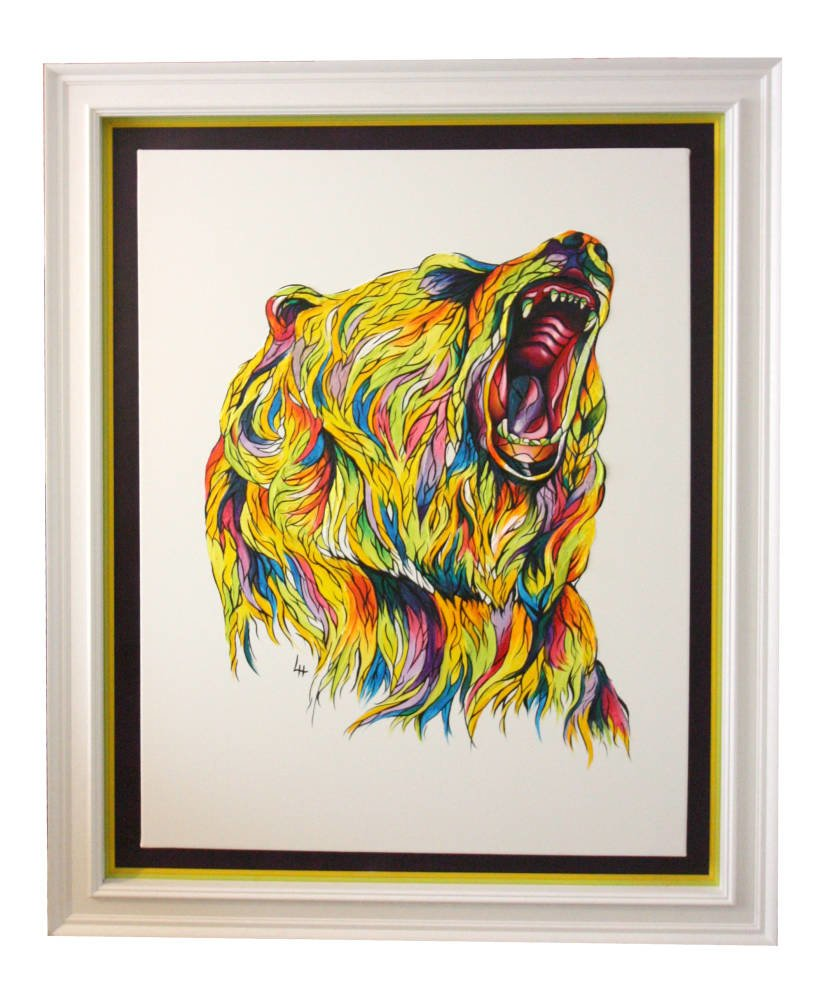 Derbyshire artist interesting framing ideas - Lily Hammond Art - Grizzly Bear painting