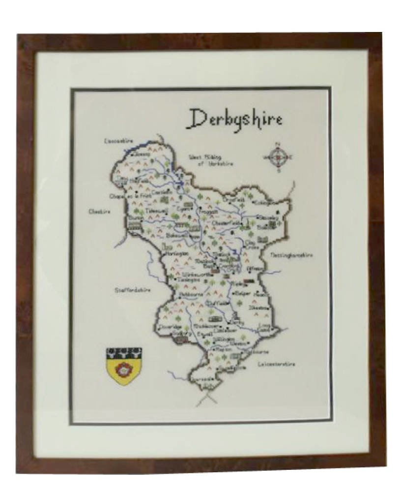 Map of Derbyshire Embroidery