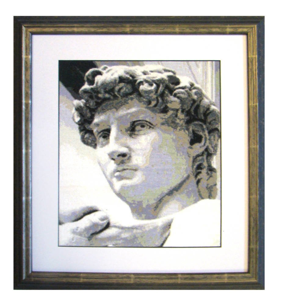 Cross stitch larson jhul etrusca black and white - Embroidery framing