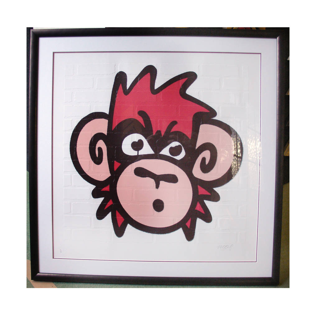 Mighty Mo embossed print framed