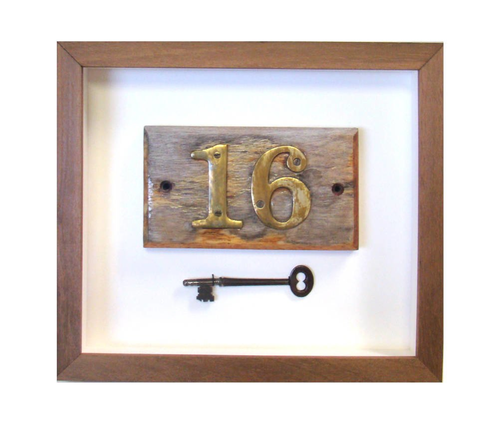 Old Key and Door Sign framed