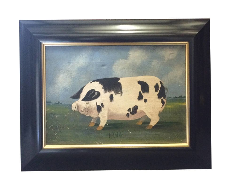 Pig Oil Painting Framed