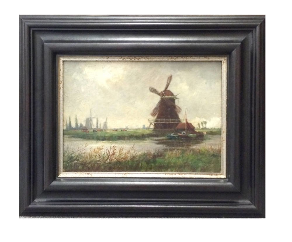 eb29608f3e58 Small windmill painting framed. Small windmill painting framed. Coastal  painting in period frame