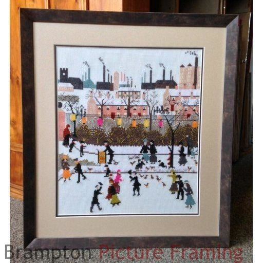 winter scene cross stitch double mounted and framed