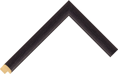 Corner sample of Black Cushion Jelutung Frame Moulding