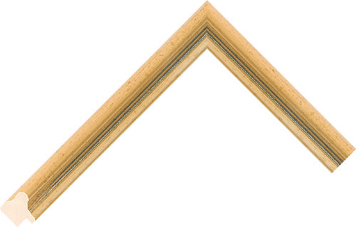 Corner sample of Gold+Blue Scoop Obeche Frame Moulding