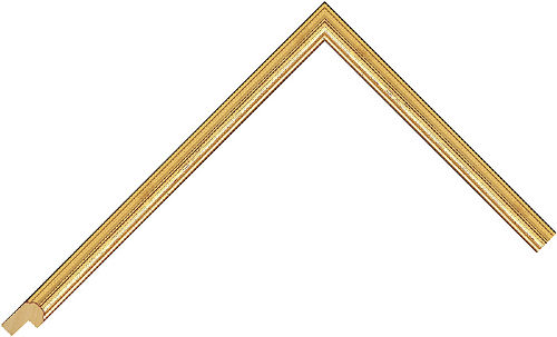 Corner sample of Gold Cushion Obeche Frame Moulding