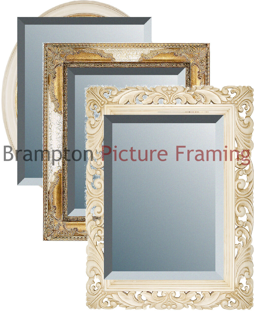Ornate ivory gold framed mirror bevelled vintage antique for Small gold framed mirrors
