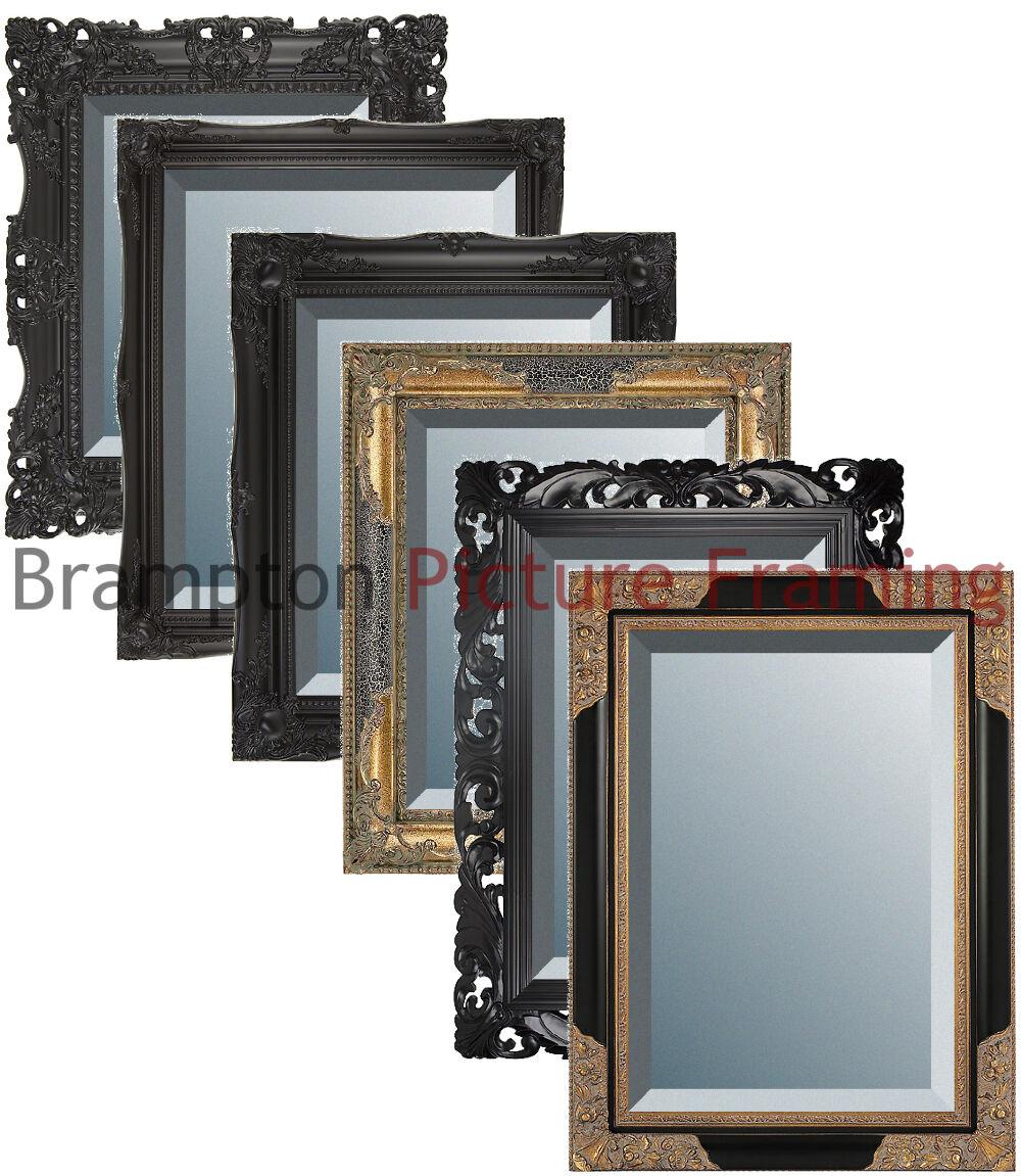 Image Is Loading Ornate Black Framed Mirror Bevelled Vintage Antique Small