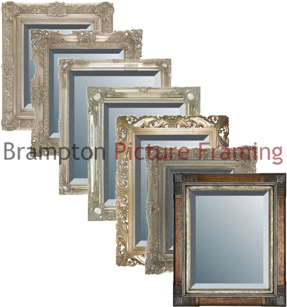 Image Is Loading Ornate Silver Framed Mirror Bevelled Vintage Antique Small