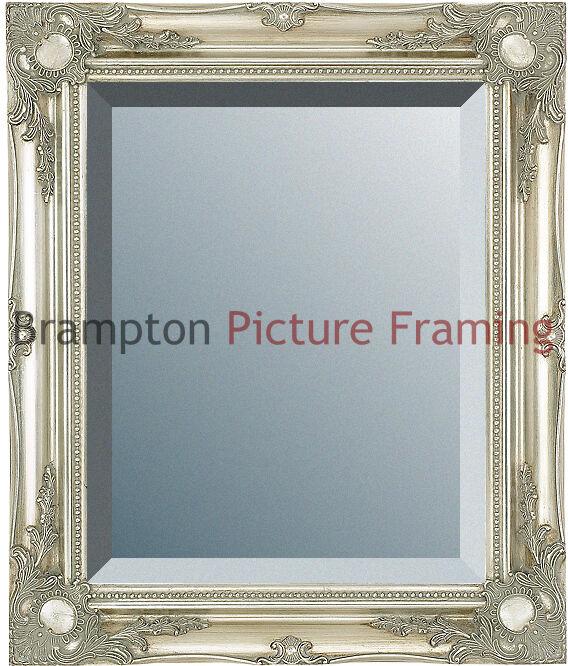 Ornate Silver Framed Mirror (Bevelled) Vintage/Antique + Small, Med ...
